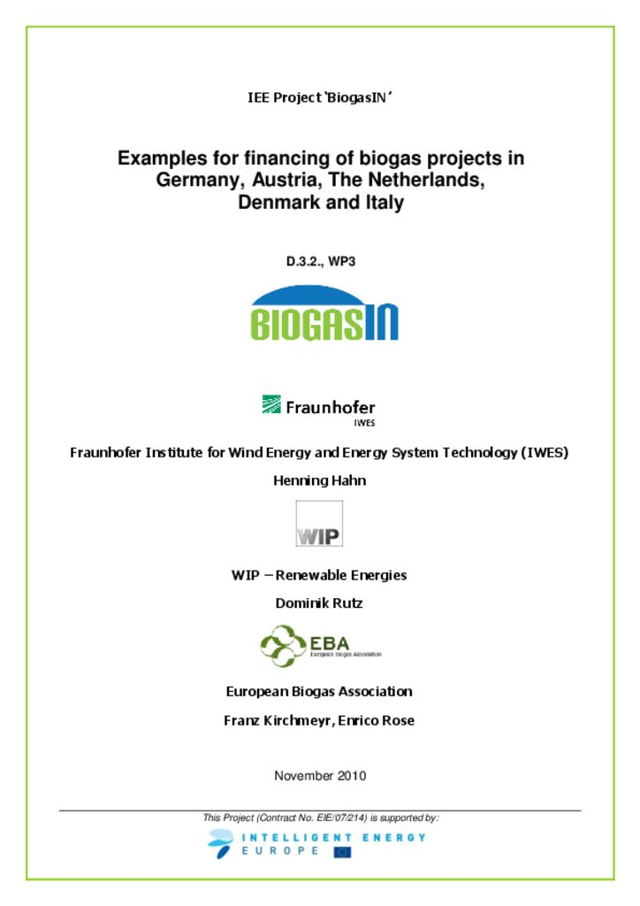thumbnail of Examples for financing of biogas projects in Germany, Austria, The Netherlands, Denmark and Italy
