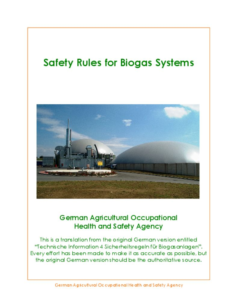 thumbnail of Safety Rules For Biogas-Systems – 2008 ALEMANIA