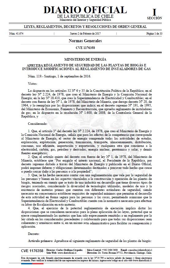 Reglamento seguridad plantas Biogás Chile